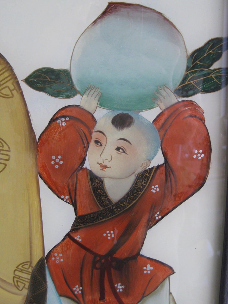Antique Chinese Art Reverse Painted Immortal & Boy with Peach Painting on Glass For Sale 7