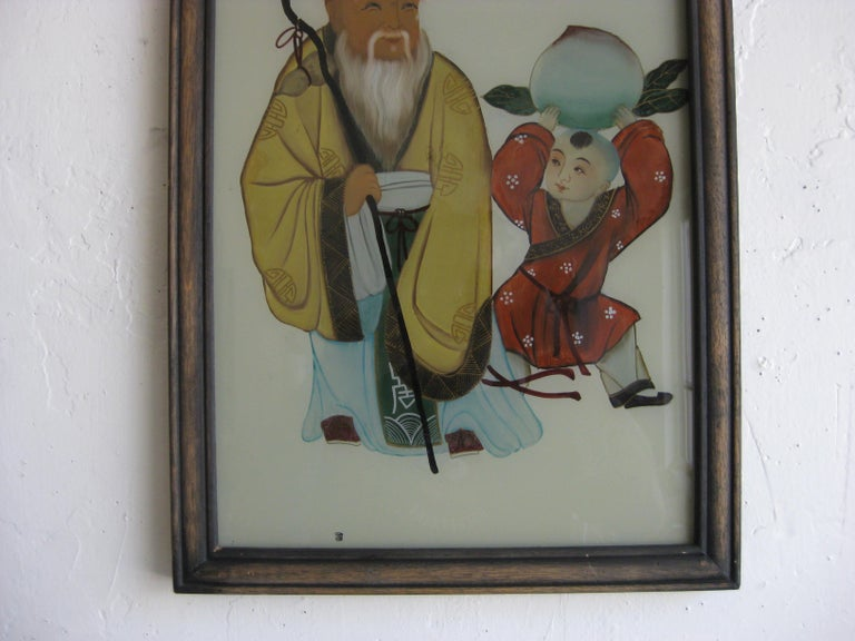 Antique Chinese Art Reverse Painted Immortal & Boy with Peach Painting on Glass In Good Condition For Sale In San Diego, CA