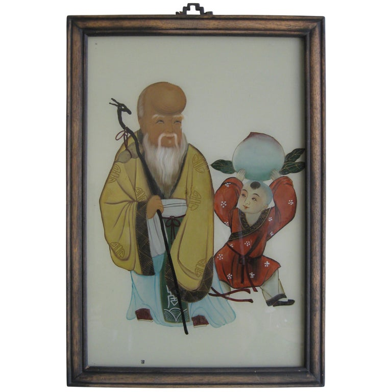 Antique Chinese Art Reverse Painted Immortal & Boy with Peach Painting on Glass For Sale