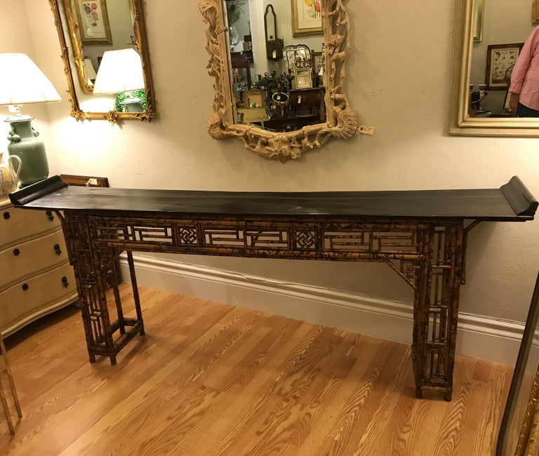 Antique Chinese bamboo altar table with everted ends. Open lattice pedestal bases. Narrow depth makes it ideal for an entry table, sofa table or sideboard.