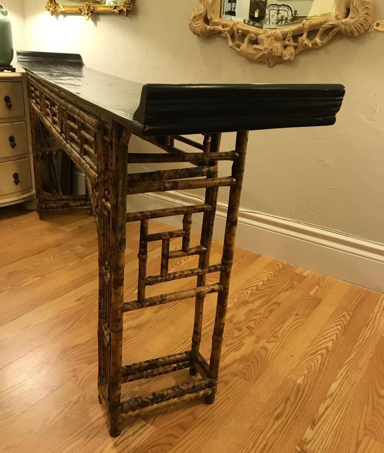 Antique Chinese Bamboo Altar Table For Sale 4
