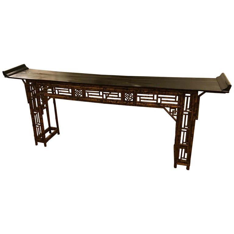 Antique Chinese Bamboo Altar Table For Sale