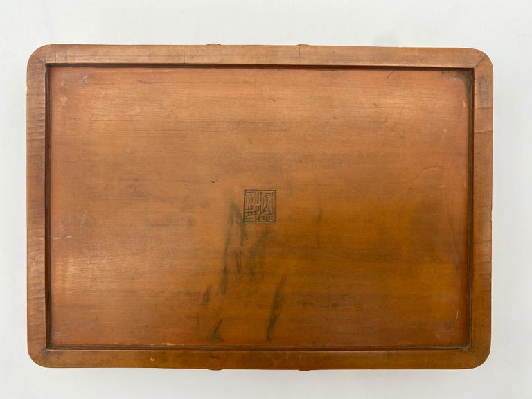Antique Chinese Bamboo Yellow Box For Sale 6