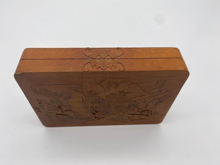 Antique Chinese Bamboo Yellow Box For Sale 7