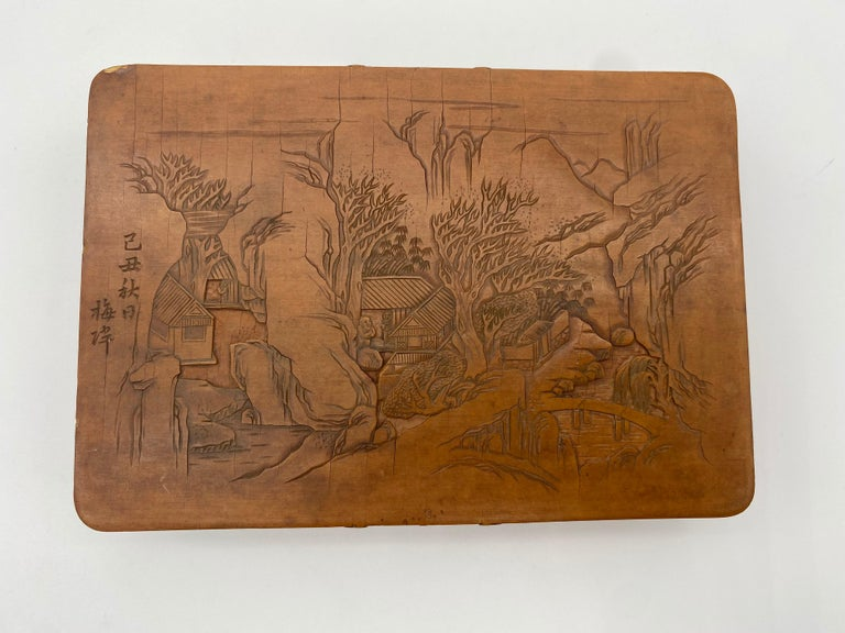 Qing Antique Chinese Bamboo Yellow Box For Sale