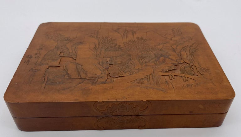 Hand-Carved Antique Chinese Bamboo Yellow Box For Sale