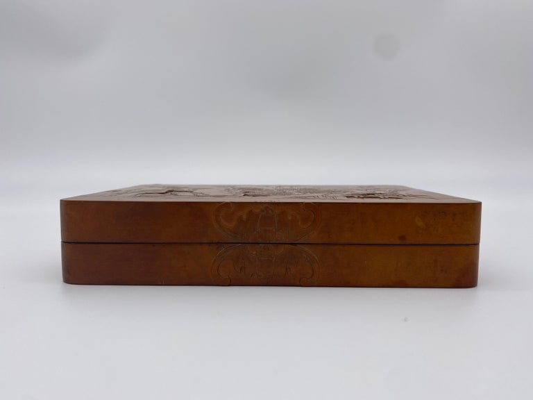 Antique Chinese Bamboo Yellow Box In Good Condition For Sale In Brea, CA