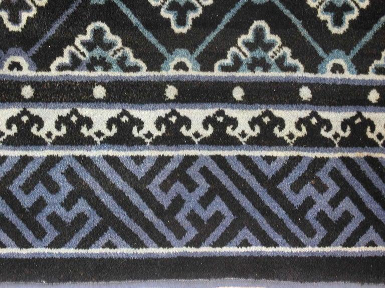 Woven Antique Chinese Baotou Indigo Rug, circa 1900 For Sale