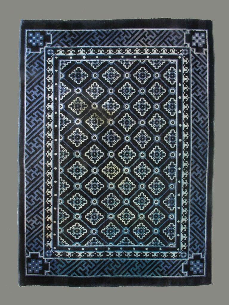 Wool Antique Chinese Baotou Indigo Rug, circa 1900 For Sale