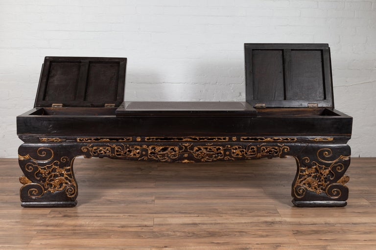 Awe Inspiring Antique Chinese Black Lacquered Bench With Hidden Storage And Gilt Decor Pdpeps Interior Chair Design Pdpepsorg
