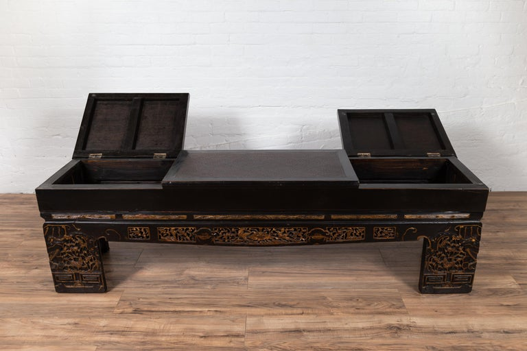 Surprising Antique Chinese Black Lacquered Bench With Hidden Storage Rattan And Gilt Decor Pdpeps Interior Chair Design Pdpepsorg