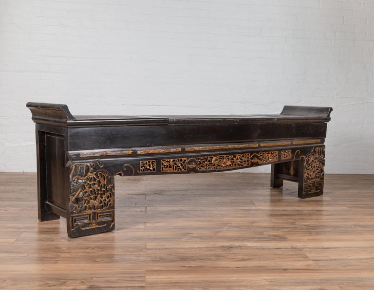 Tremendous Antique Chinese Black Lacquered Bench With Hidden Storage Rattan And Gilt Decor Pdpeps Interior Chair Design Pdpepsorg