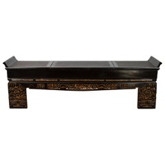 Antique Chinese Black Lacquered Bench with Hidden Storage, Rattan and Gilt Décor