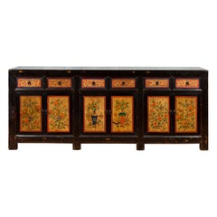 Antique Chinese Black Lacquered Gansu Sideboard with Hand Painted Floral Motifs