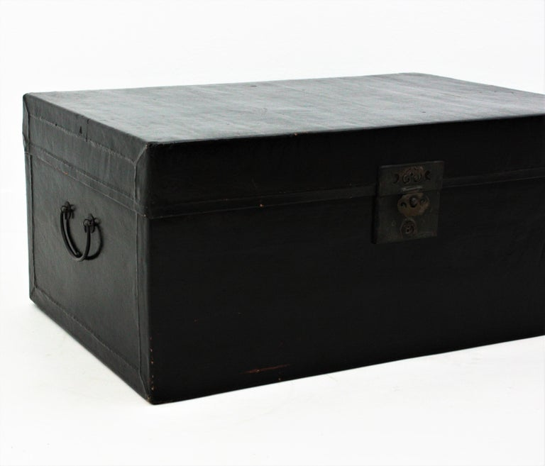 Antique Chinese Black Lacquered Trunk For Sale 5