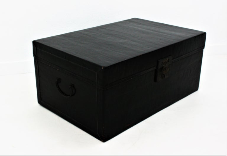 Antique Chinese Black Lacquered Trunk For Sale 6