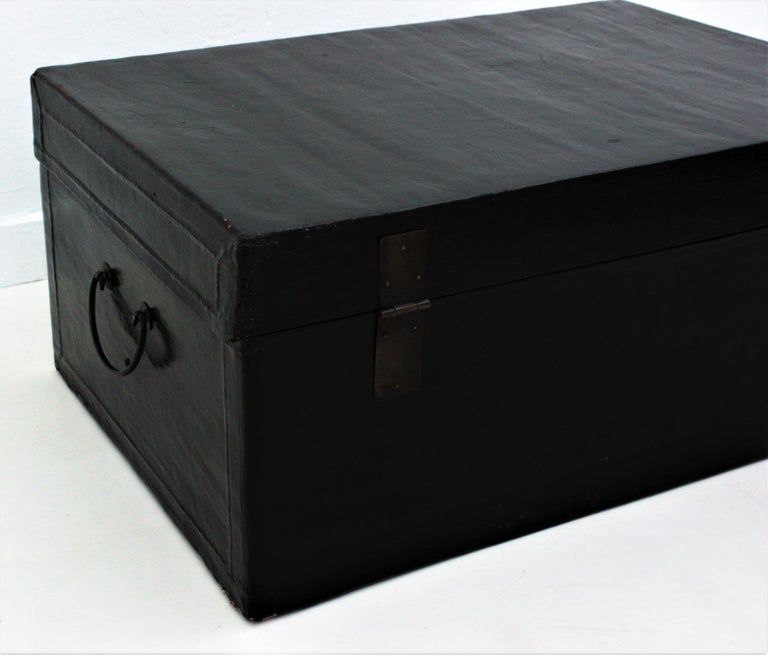 Antique Chinese Black Lacquered Trunk For Sale 7