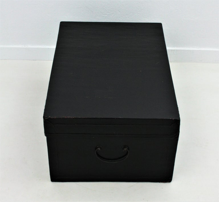 Antique Chinese Black Lacquered Trunk For Sale 8