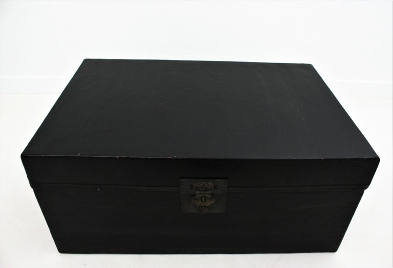 Antique Chinese Black Lacquered Trunk For Sale 10