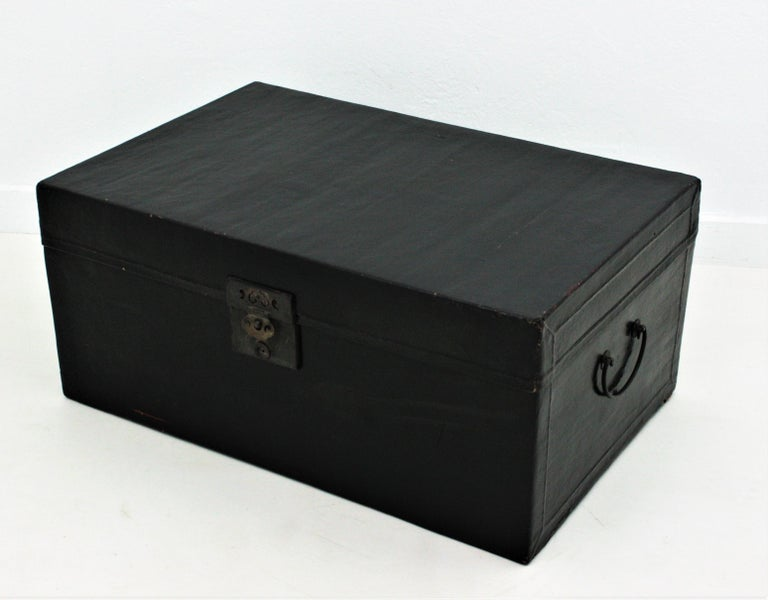 Antique Chinese Black Lacquered Trunk For Sale 11