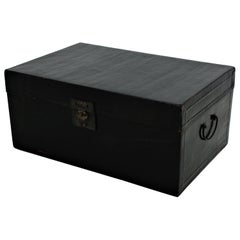 Antique Chinese Black Lacquered Trunk
