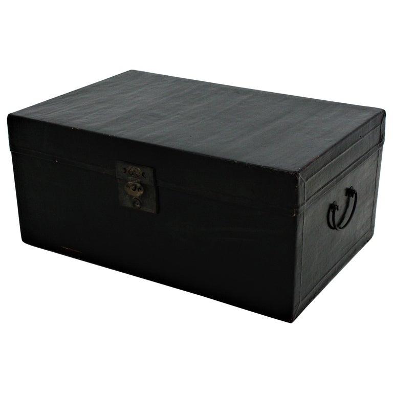 Antique Chinese Black Lacquered Trunk For Sale
