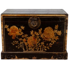 Antique Chinese Black Lacquered Trunk with Golden Floral Décor and Handles