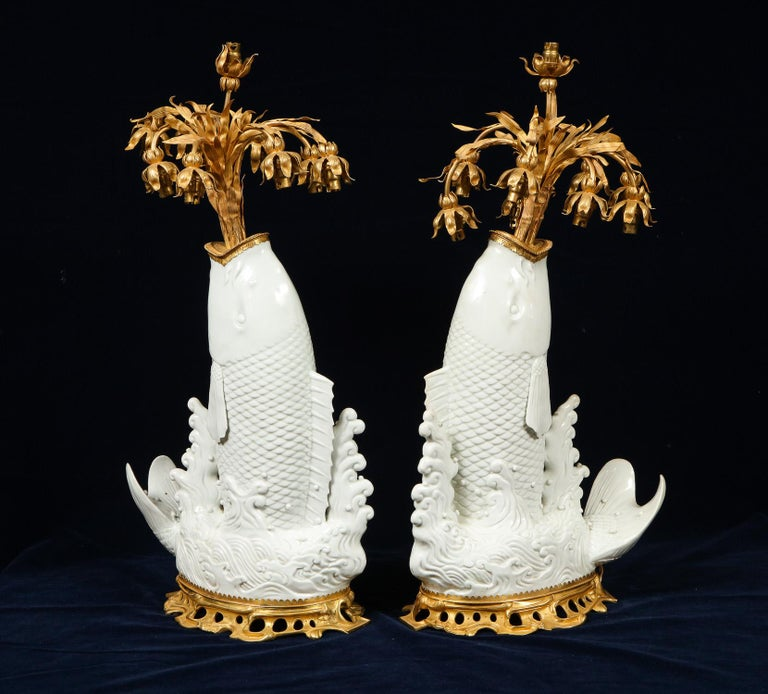 Antique Chinese Blanc de Chine Porcelain and Doré Bronze Mounted Fish Form Lamps For Sale 3