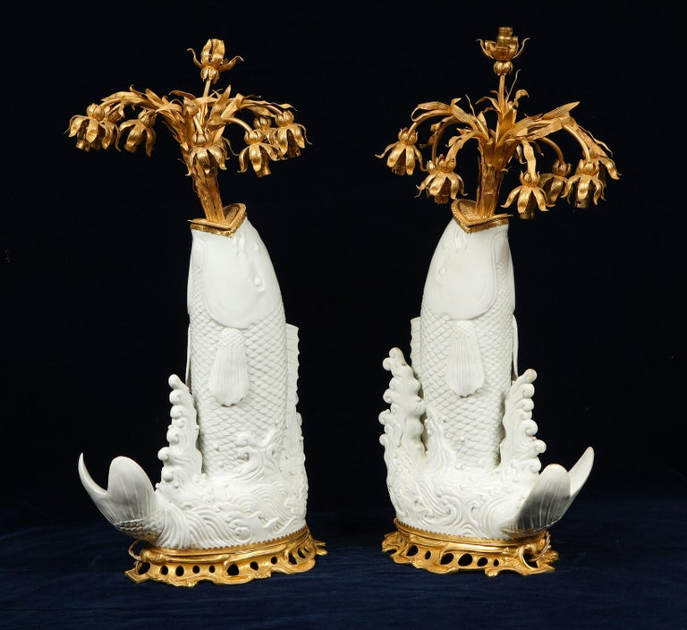 Antique Chinese Blanc de Chine Porcelain and Doré Bronze Mounted Fish Form Lamps For Sale 1
