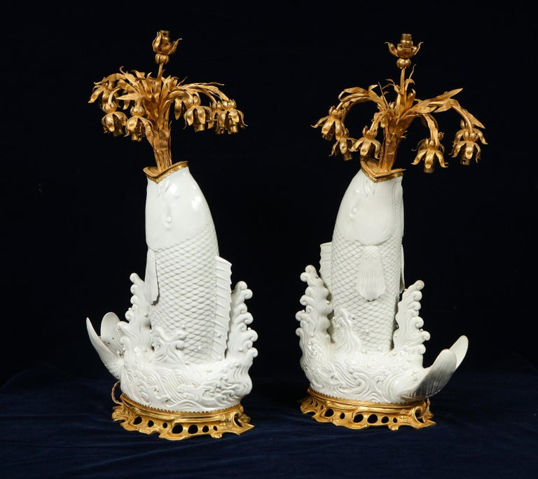 Antique Chinese Blanc de Chine Porcelain and Doré Bronze Mounted Fish Form Lamps For Sale 2
