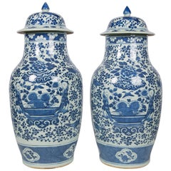 Antique Chinese Blue and White Covered Jars with Boys