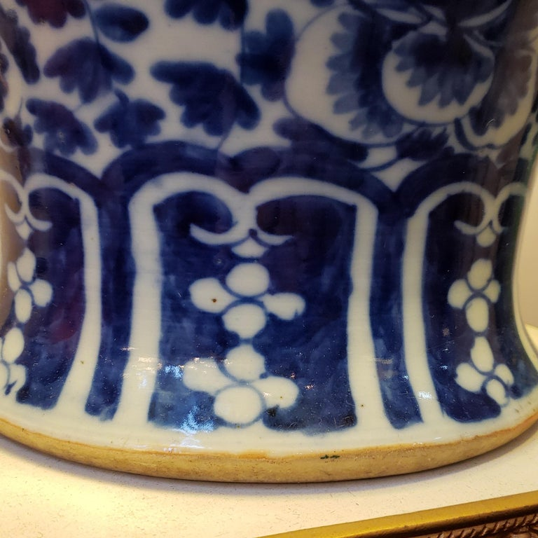 Hand-Painted Antique Chinese Blue and White Porcelain Lamp