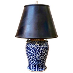 Antique Chinese Blue and White Porcelain Lamp