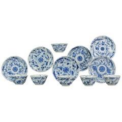 Antique Chinese Blue and White Tea Bowl, Landscape, Porcelain, Qing