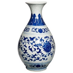 Antique Chinese Blue Decorated Stoneware Vase, 20th Century