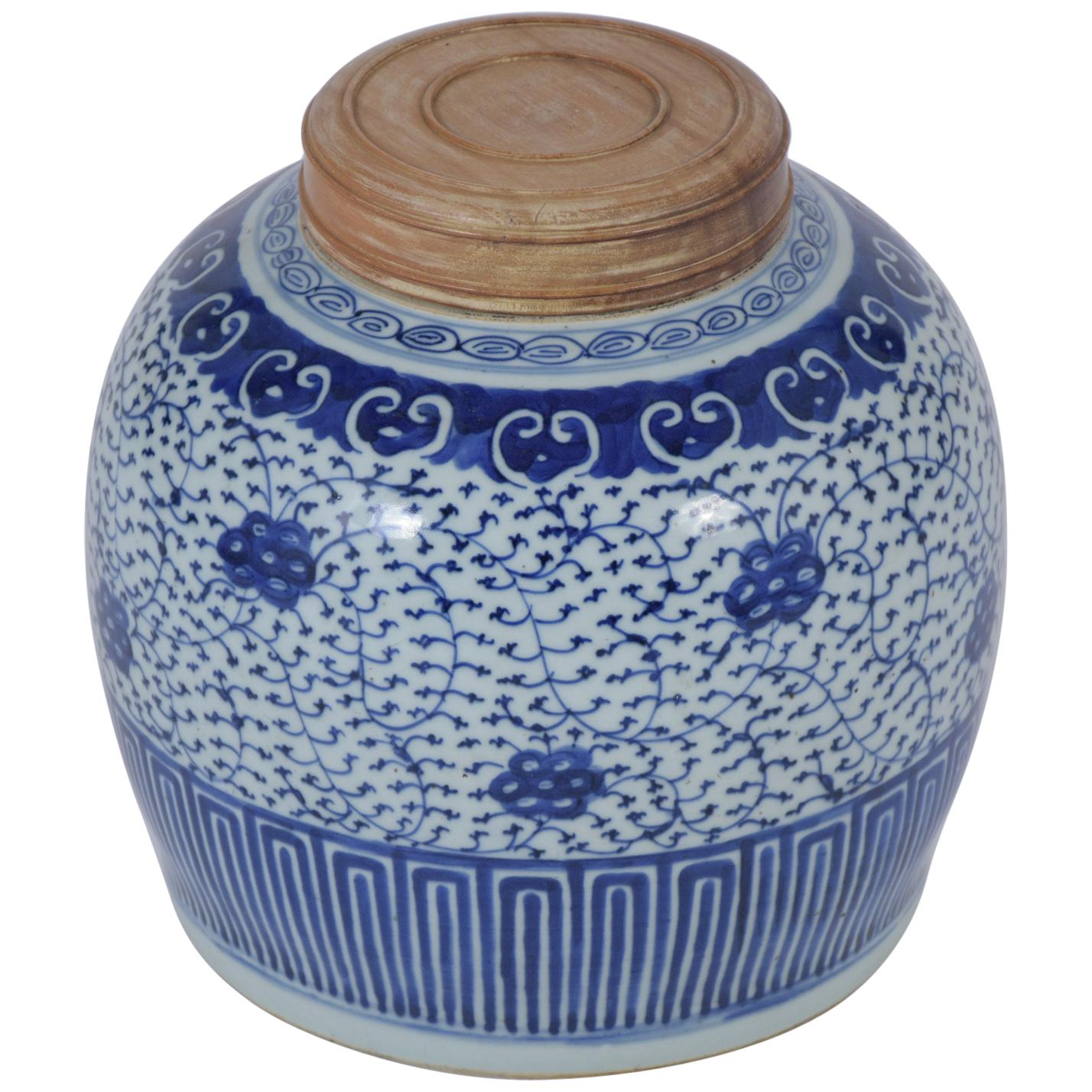 Antique Chinese White & Blue Porcelain Jar