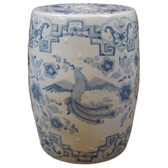 Antique Chinese Blue White Garden Stool Plant Stand Phoenix Dragon Side Table