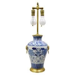 Antique Chinese Blue White Porcelain Ginger Jar Table Lamp w Gilt Bronze Ormolu