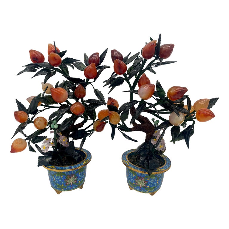 Antique Chinese Bonsai Tree in Gilt Cloisonné Pot For Sale