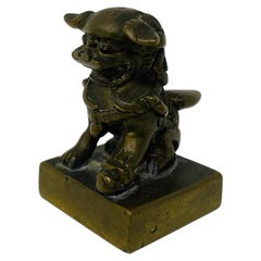Antique Chinese Bronze Foo Dog Seal Statue