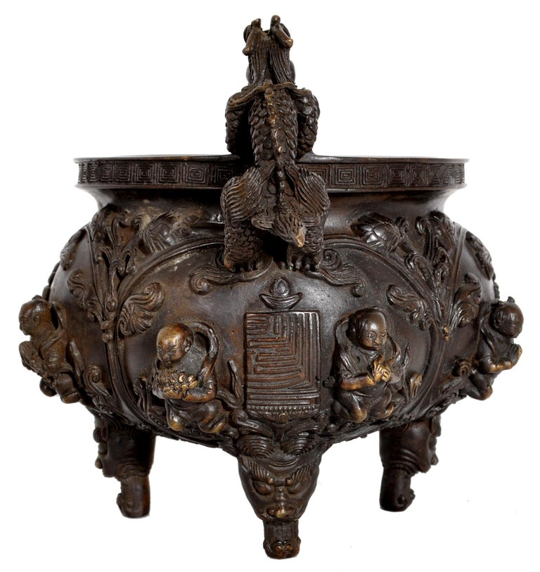 Archaistic Antique Chinese Bronze Qing Dynasty Dragon Censer Incense Burner Buddhistic 1800 For Sale
