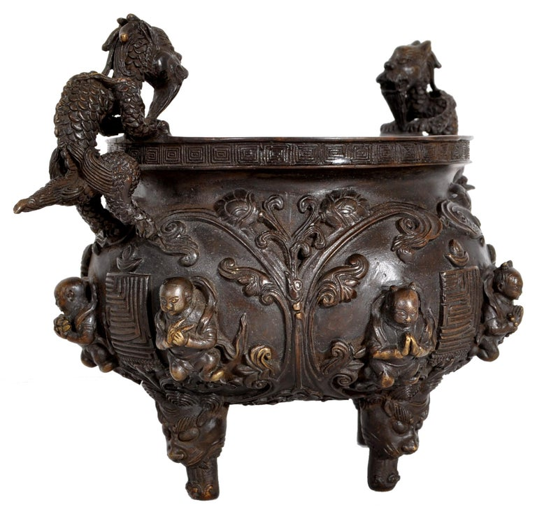 Cast Antique Chinese Bronze Qing Dynasty Dragon Censer Incense Burner Buddhistic 1800 For Sale