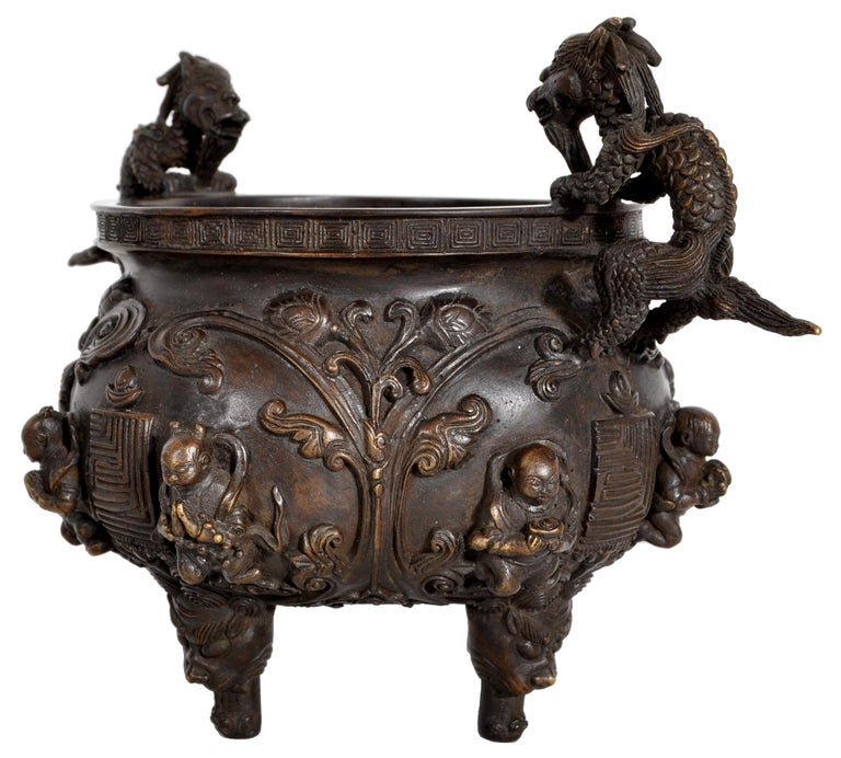 Early 19th Century Antique Chinese Bronze Qing Dynasty Dragon Censer Incense Burner Buddhistic 1800 For Sale