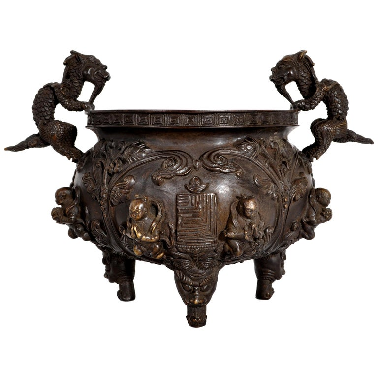Antique Chinese Bronze Qing Dynasty Dragon Censer Incense Burner Buddhistic 1800 For Sale
