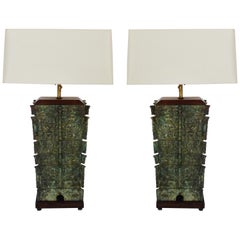 Antique Chinese Bronze Vessels Mounted as Lamps, a Pair