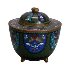 Antique Chinese Butterfly Cloisonne Enameled Lidded Server, circa 1900