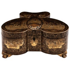 Antique Chinese Butterfly Lacquer Tea Caddy Tea Chest, 19th Century