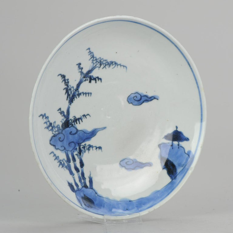 Antique Chinese ca 1600-1640 C Porcelain China Plate Bamboo Clouds Kosometsuke For Sale 7
