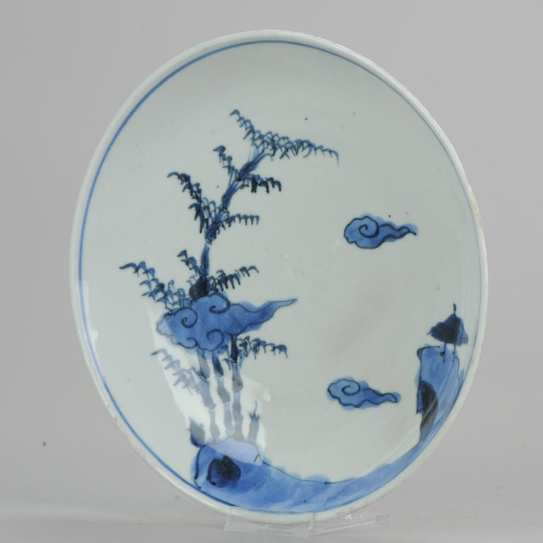A very nice Plate. Early 17th century. Bamboo and clouds. Rare plate!  1-11-19-1-1  Symbolism:  Clouds are considered lucky and so feature heavily in Chinese pictures and symbolism. This is most likely down to the obvious connection that