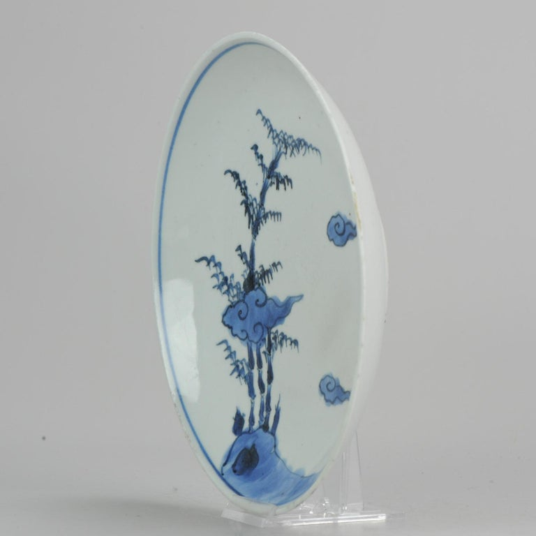 Ming Antique Chinese ca 1600-1640 C Porcelain China Plate Bamboo Clouds Kosometsuke For Sale